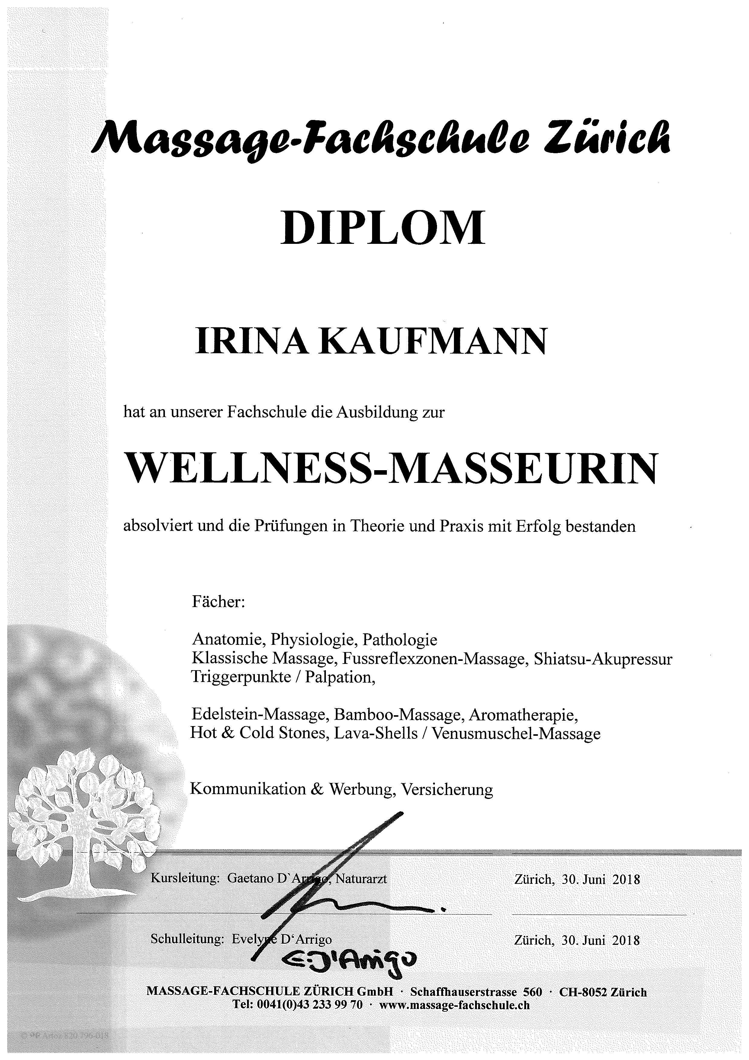zertifikat Massage Fachschule Zürich