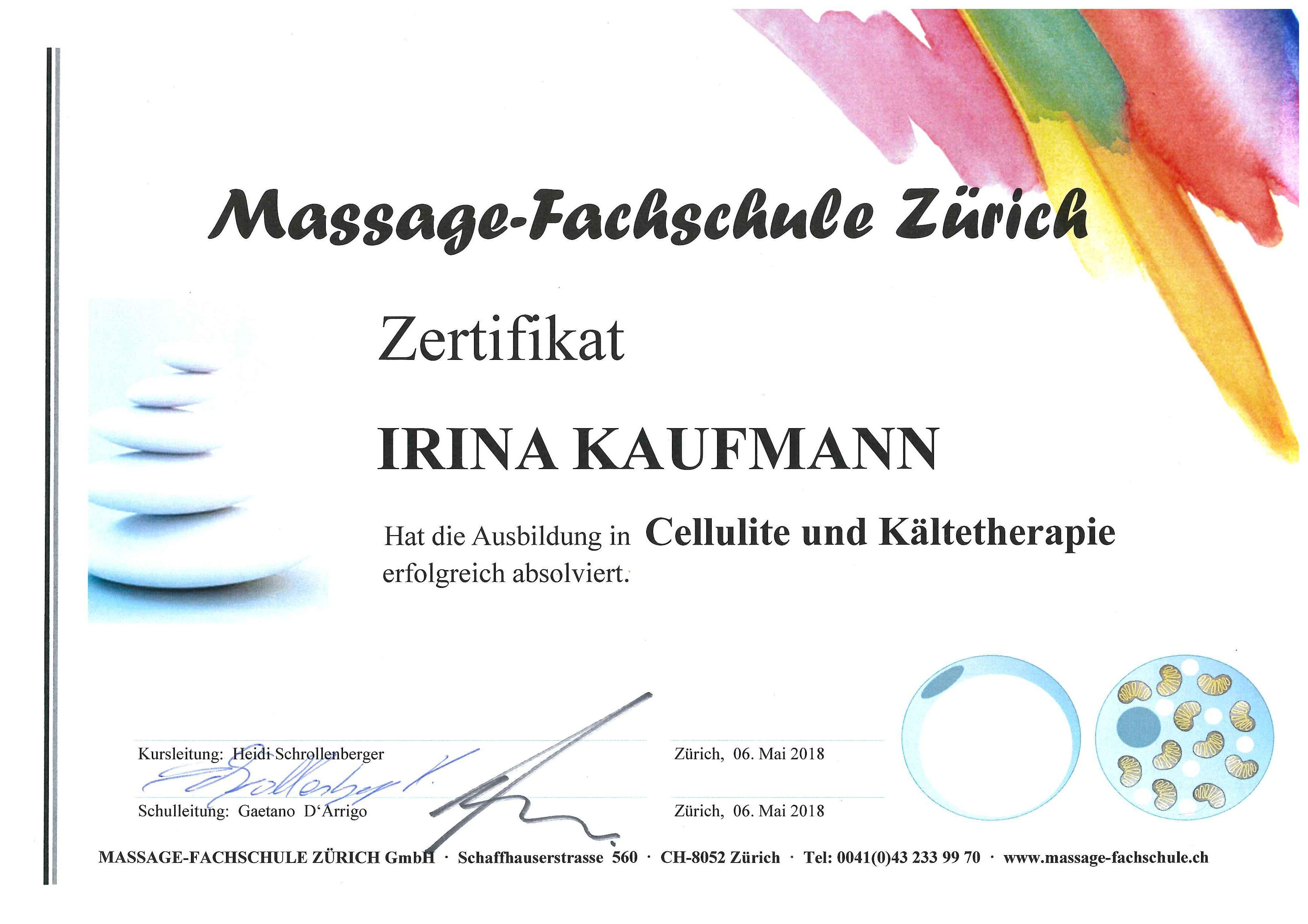 zertifikat Cellulite und Kältetherapie Irina Massage Seebach